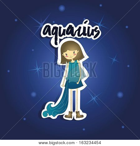 Vector illustration of cartoon Aquarius girl on starry night background