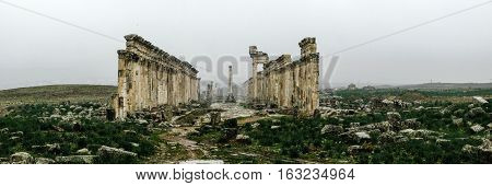 Great Colonnade at Apamea in fog partially destroyed by ISIS Syria