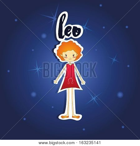 Vetor illustration of cartoon Leo girl on starry night background