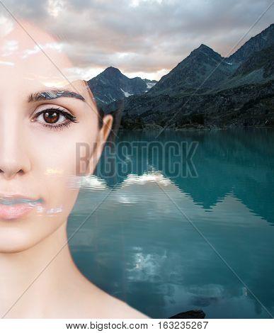 Double exposure portrait of half woman face and nature landscape