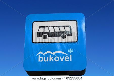 BUKOVEL, UKRAINE - MAY 11, 2013: Bus stop sign in Bukovel resort in Carpathian mountains, Ukraine