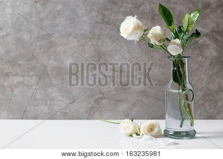 Fresh White Rose Flower In Bottle