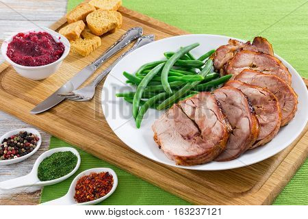 Turkey Roulade Cut In Slices With Boiled Green Beans, Close-up