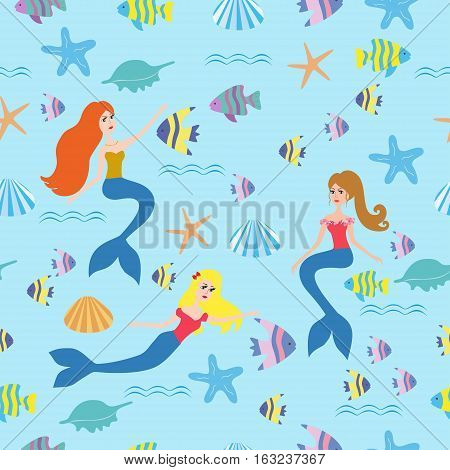 Blue seamless pattern with color fish and mermaid. Vector illustration. Seamless background with mermaids, fish, sea.Seamless pattern with cartoon mermaid for kids, girl.