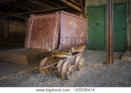 Old Rusty Mining Ore Cart at old mill