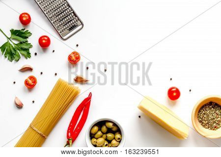 ingredients for cooking paste on white background top view mock up