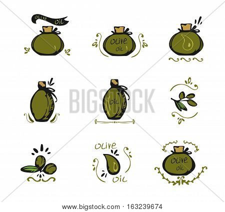 Set of doodles olive oil icons vector illustration. Olive oil bottle vector set. Vector Olive oil logo isolated.