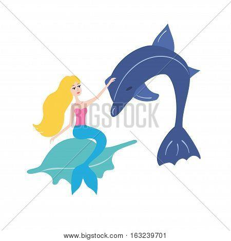 Mermaid with dolphin illustration for kids, children, girl