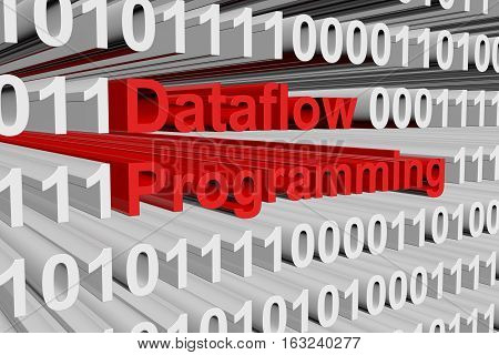 Dataflow programming in binary code, 3D illustration