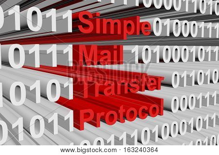 Simple Mail Transfer Protocol in the form of binary code, 3D illustration