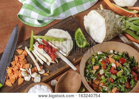 glued chopped vegetables on kitchen board. Vegetables for conservation