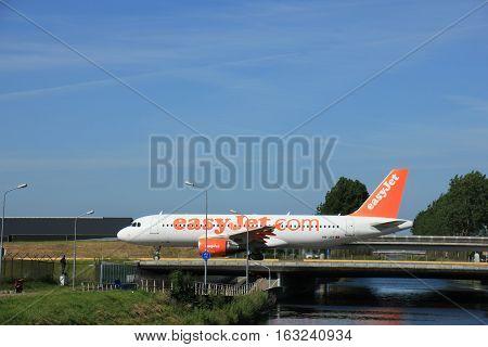 Amsterdam the Netherlands - June 9th 2016: HB-JZY easyJet Switzerland Airbus A320 taxiing to Polderbaan runway Schiphol destination Geneva Switzerland