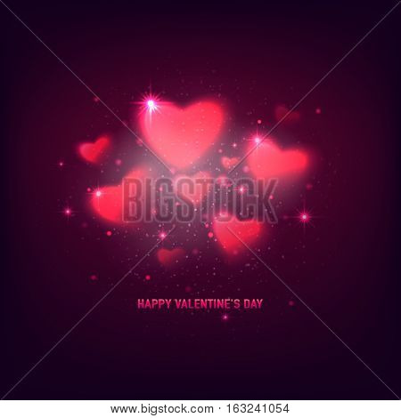 Vector illustration of stylish valentines day greeting card with shine blur pink hearts, dots, isolated on purple background. Romantic baner or poster for 14 february