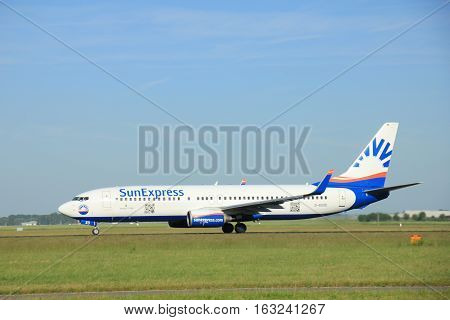 Amsterdam the Netherlands - June 9th 2016: D-ASXD SunExpress Germany Boeing 737-8AS(WL) takeoff from Polderbaan runway destination Vienna Austria