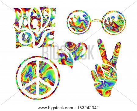 set of isolated hand drawn elements in Hippie Retro style 1960s 60s 70s Peace and Love a sign of Pacifism - two thumbs up round glasses and hearts.