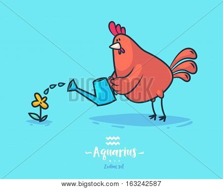 Zodiac sign aquarius. Rooster and flower. Zodiac greeting card background poster. Vector illustration. Horoscope Sign