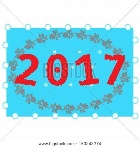 2017 Happy New Year background. Pattern element for cover, print, web, wrapping, snowflakes flower circle