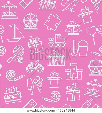 Children's entertainment and leisure, background, seamless, pink, contour. Vector background with objects for the entertainment of children. White linear image on a pink field.