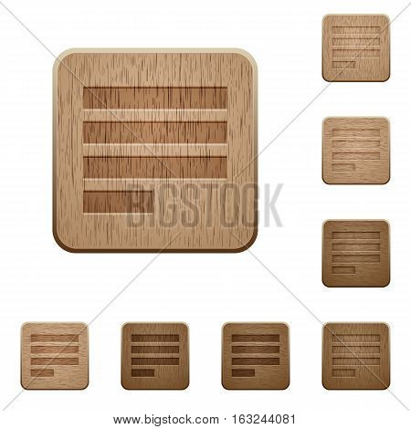 Text align justify last row left on rounded square carved wooden button styles