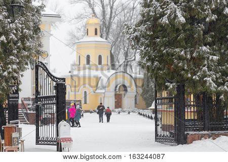Church Near Cathedral Of St. Peter And Paul In Gomel, Belarus. Winter Season.