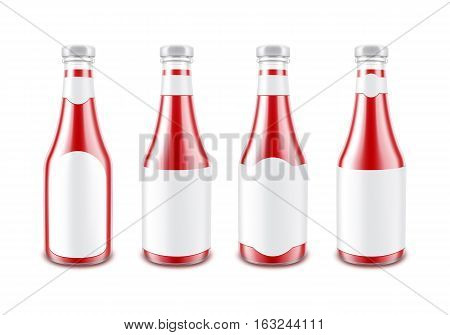 Vector Set of Blank Glass Glossy Red Tomato Ketchup Bottle for Branding without with White Label Isolated on White Background