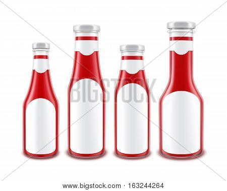 Vector Set of Blank Glass Red Tomato Ketchup Bottles of different Shapes for Branding with White labels Isolated on White Background
