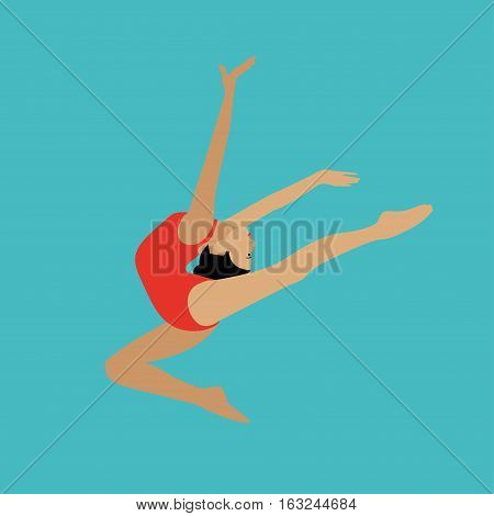 Vector concept illustration of rhythmic and artistic gymnastics. Design elements and icons in flat design. Female gymnast