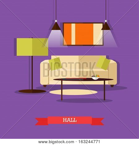 Vector set of posters, banners with home interior design elements in flat style. Place to rest, hall, home