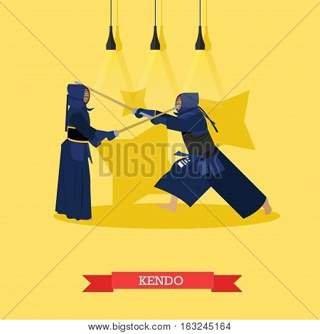 Vector poster of martial arts. Kendo. Fighters in sport positions. Flat design.