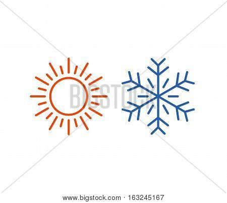Hot and cold icons isolated on white background. Sun and snowflake symbol vector illustration