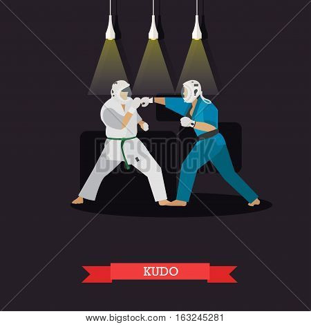 Vector poster of martial arts. Kudo. Fighters in sport positions. Flat design.