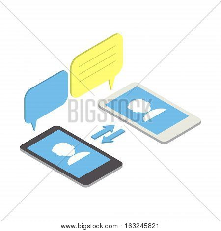 Communication in mobile phone networks. Charting vector isometric illustration