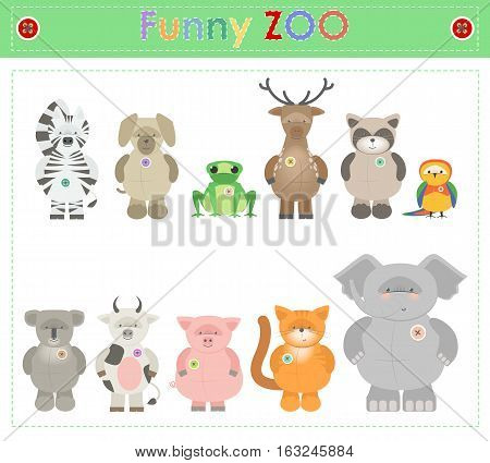 Animal Zoo part two. Funny small plush animals. cartoon Vector
