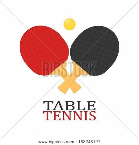 Two rackets for playing table tennis or ping-pong vector isolated on white background.