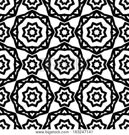 Simple seamless pattern with a black pattern on a white background in the form of rosettes. Retro backdrop geometric and stylized flowers.