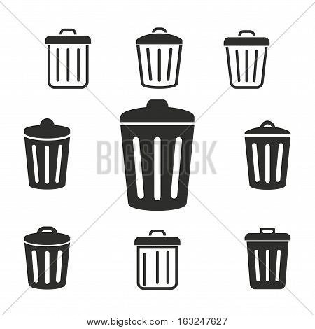 Bin vector icons set. Illustration isolated for graphic and web design.