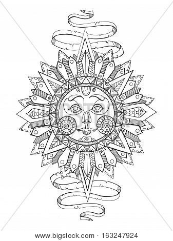Sun with face drawing coloring book for adults vector illustration. Anti-stress coloring for adult. Tattoo stencil. Zentangle style. Black and white lines. Lace pattern