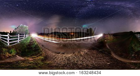 360 panorama of a roadside at night with the Milky Way visible