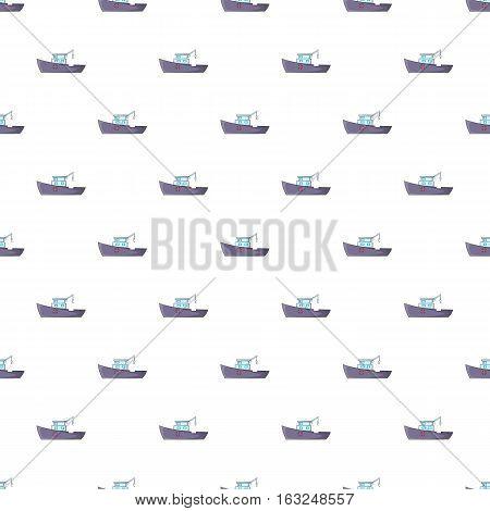 Ship for catching fish pattern. Cartoon illustration of ship for catching fish vector pattern for web