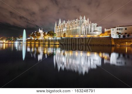 Night view of Majorca cathedral in Balearic Islands