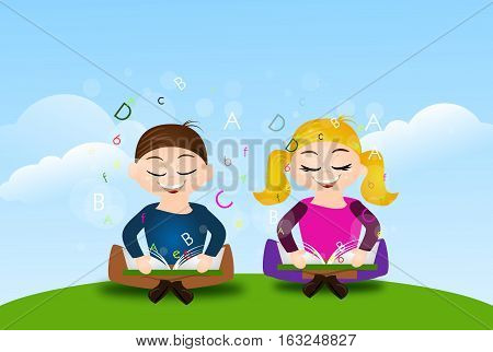 Illustration of two learning children sitting on grass with open books