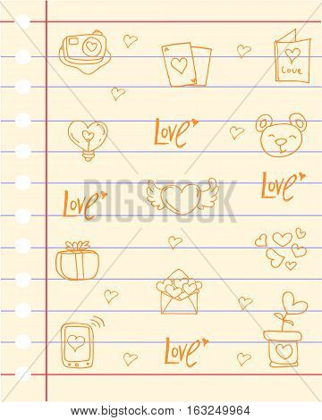 Paper love theme collection stock vector art
