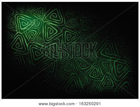 Illustration of Beautiful Green Vintage Texture Background with Triangle Spiral Pattern for Add Content or Picture.