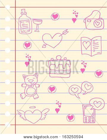 Vector art of love theme paper collection stock
