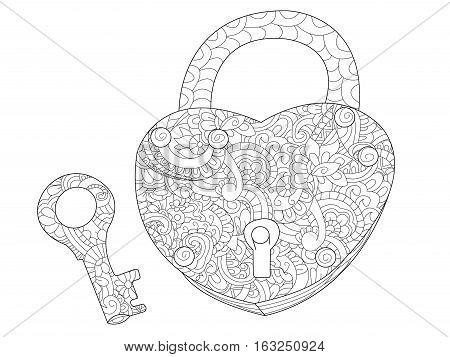 Lock in the shape of a heart and key coloring book for adults vector illustration. Anti-stress coloring for adult love. Zentangle style nature. Black and white lines symbol. Lace pattern
