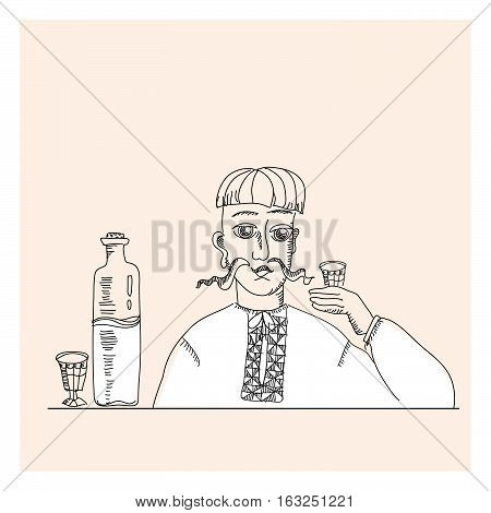 man and vodka in peasant style vector illustration