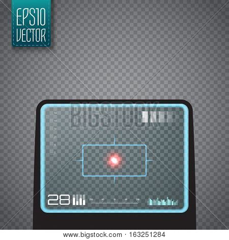 Sniper scope isolated. Neon target concept. Game Interface Element. Vector illustration