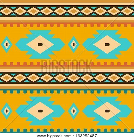 Seamless geometric ethnic pattern. Elements of traditional Native American ornament. Image in warm colors for design and textile items in the style of boho and folk.