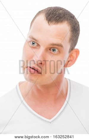 Cheerful Face With A Grimace Young Man Isolated