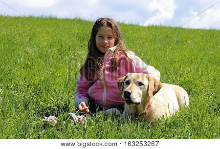 Beautiful Smiling Little Girl With Labrador Dog